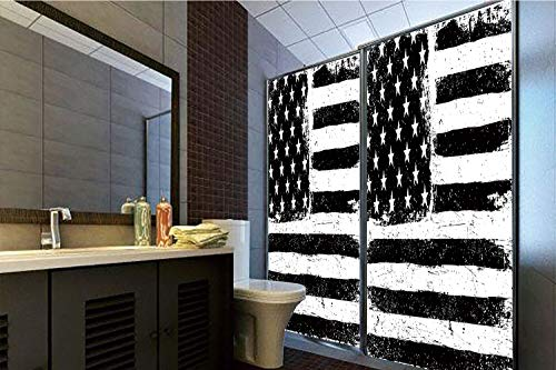 Horrisophie dodo 3D Privacy Window Film No Glue,United States,Grunge Aged Black and White American Flag Independence Fourth of July Decor Decorative,Black White,70.86