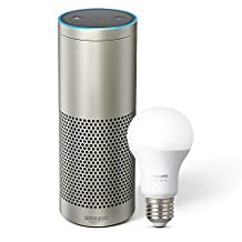 Echo Plus with built-in Smart Home Hub — Silver plus Philips Hue Smart Bulb included