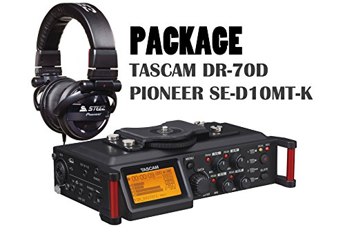 Tascam DR-70 Linear PCM Recorder For DSLR + PIONEER Black SE-D10MT-K Steez Dubstep Headphones by Tascam