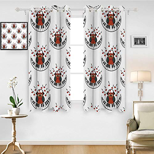 (SATVSHOP Hugo Short valances Curtain Windows Treatment for Kitchen Living Room - 63W x 72L Inch-Owls Home Musician Pianist Owl with Headphon and Playing A Moon Shaped Piano Clipart.)