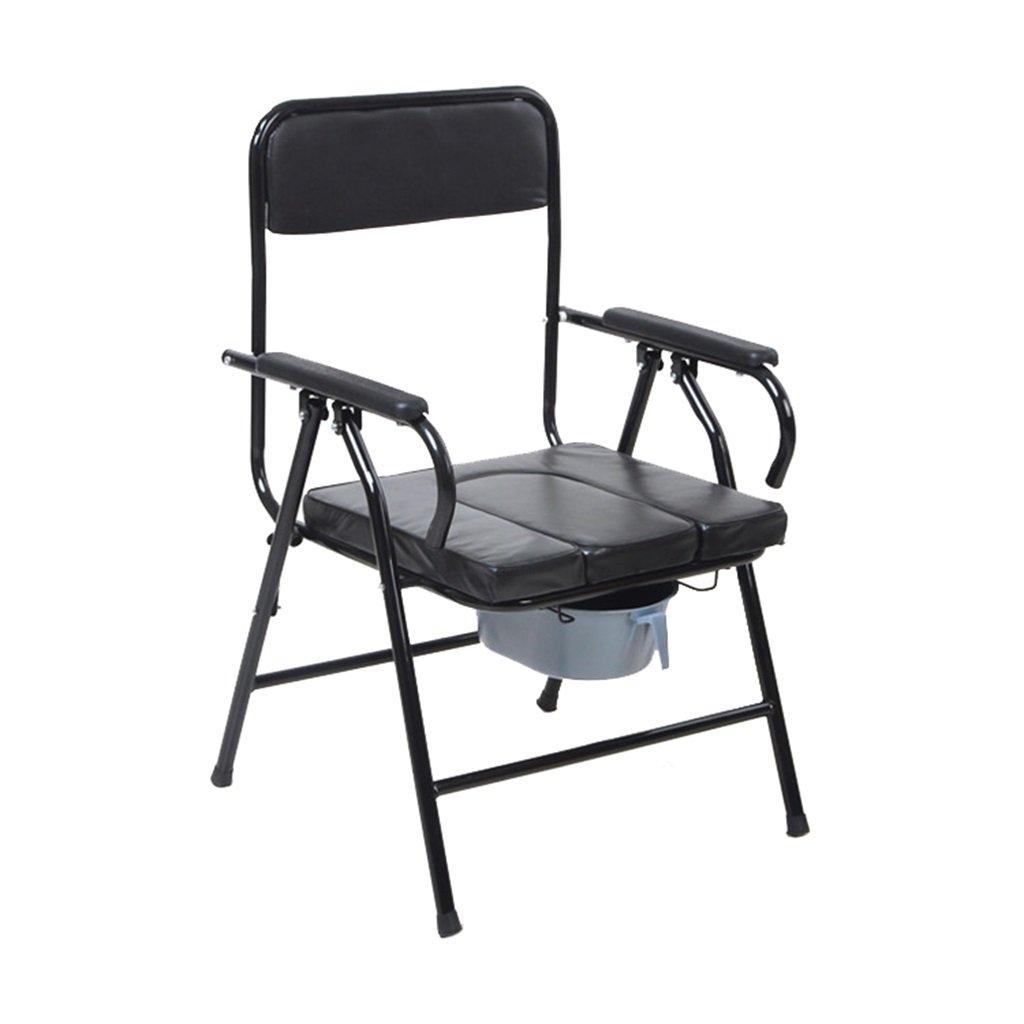 身体障害者トイレの椅子滑り止め手すり頑丈で丈夫な浴室シャワースツール(バケツ付)携帯用折りたたみ式高齢者人便椅子(パッド付き携帯電話付き)妊娠中の女性用便座最大80kg黒 B07DKYL19B