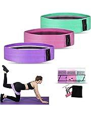 Weerstandsbanden [set van 3], Weerstand heupbanden set met 3 weerstandsniveaus voor heupen en bilspieren, Workout Booty Bands voor dames en heren, Geweldig voor krachttraining, Yoga, Pilatus, Fitness