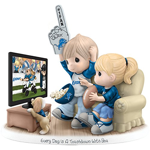 Officially Licensed NFL Detroit Lions Fans Precious Moments Porcelain Figurine by The Hamilton (Detroit Lions Figurine)