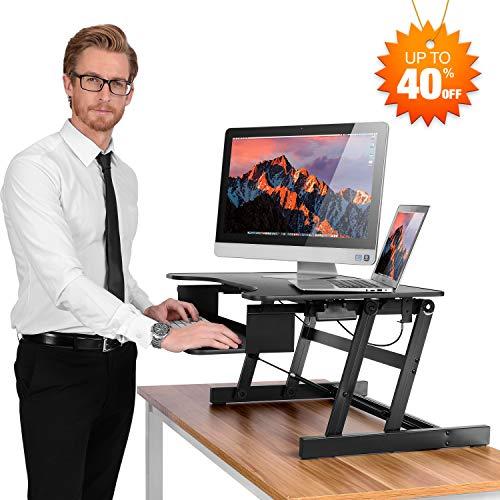 - SMONET Desk Riser Height Adjustable Standing Desk Sit Stand Up Converter Laptop Stands Large Wide Desk Riser, 32