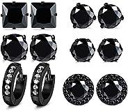 FUNRUN JEWELRY 6 Pairs Stainless Steel Cubic Zirconia Stud Earrings for Women Men CZ Halo Hoop Huggie Earrings