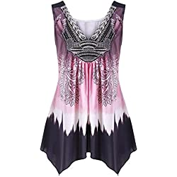 UONQD Woman Women V Neck Summer Tank Top Sleeveless Casual Loose Printed Vest Plus Size (Large, Pink)