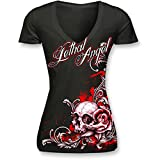 Lethal Threat (LT20288S) Women's Lethal Angel Floral Skull V-Neck T-Shirt (Black/Red, Small)