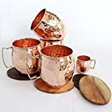 Christmas Gift, Set of 4, Handmade Pure Copper Barrel Style Hammered Moscow Mule Copper Mug 16oz / 475 ml | Barware Copper Mule Cup, Moscow Mule Cocktail Cup, Copper Mugs, Cocktail Mugs ( FREE COPPER 2 OZ SHOT MUG )