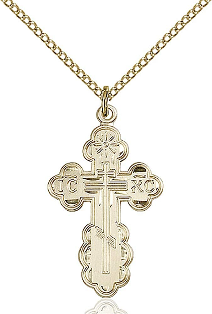 Gold Filled Lite Curb Chain Patron Saint Converts//Widows 1 1//8 x 5//8 14kt Gold Filled St Olga Pendant
