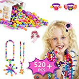 Sinwuco Pop Beads Set - 520PCS Pop Beads Snap For Girls Toddlers Kids Creative DIY Jewelry Kit Toys-Making Necklace, Bracelet, Hairband and Ring -Mermaid Ideal Gift for Christmas & Birthday