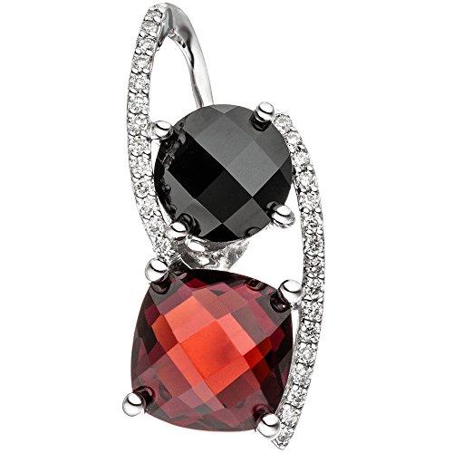 Pendentif avec brillants 29diamants & Grenat Rouge & Onyx Noir en or blanc 585