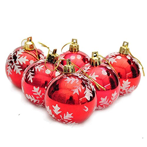 Christmas Decor,Nesee 6Pcs Christmas Balls Baubles Party Xmas Tree Decorations Hanging Ornament (Red) (Bedrooms Lights Tumblr Christmas)