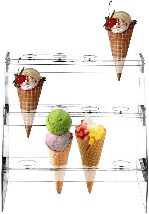 Fivtyily Clear Acrylic Food Cone Display Stand Rack Ice Cream Cone Serving Holder for Buffets Party (3 Layer, 12 Hole)