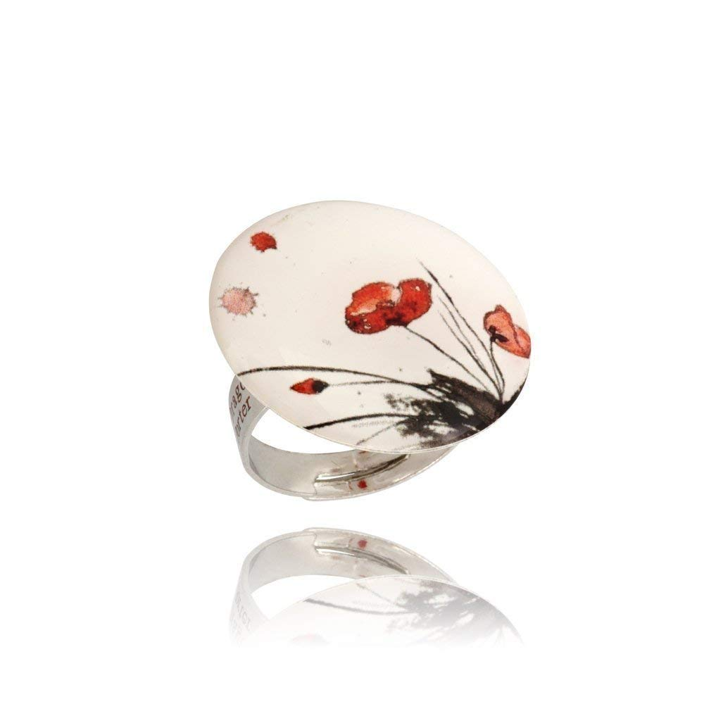 Romantic Round Ring with Red Poppy on White for Her By Dragon Porter