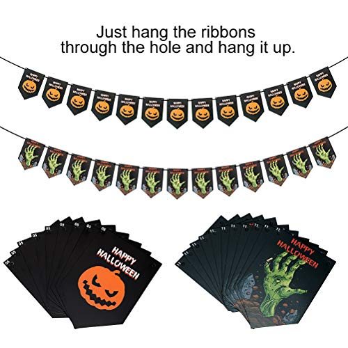 Halloween Party Supplies Decorations - Fun Party Favors with Swirl Ceiling Hanging Set, Balloon, Banners, Tablecloth, Paper Plate, Paper Cup, Napkins for Theme Party