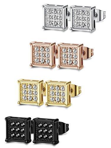 FIBO STEEL 4 Pairs Stainless Steel Stud Earrings for Men Women Square CZ Earrings,6MM (Stud Mm Square 6)