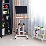 Adjustable Stand up Desk Computer Standing Desk Mobile Workstation - with Standing & Seating 2 Modes Fit Laptop and Computer Monitors - Stand up Laptop Cart White Mobile PC Work Station Brown