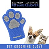 Pet grooming glove - Exgreem Newest pet hair remover glove Cat & Dog Brush (360 Silicone) Easy Wash Dog Bathing Glove - For Short / Medium Fur - Pet hair shedding massaging glove(Blue/white)