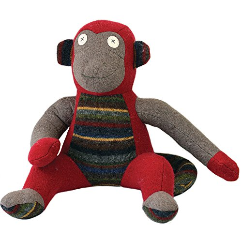 """Cate and Levi 20"""" Handmade Monkey Stuffed Animal (Premium Reclaimed Wool), Colors Will Vary"""