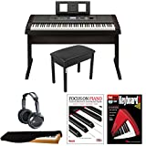 Yamaha DGX650B 88-Key Digital Piano Bundle with Knox Padded Bench, Dust Cover, JVC Headphones, Focus on Piano (Book/CD) & FastTrack Keyboard DVD …