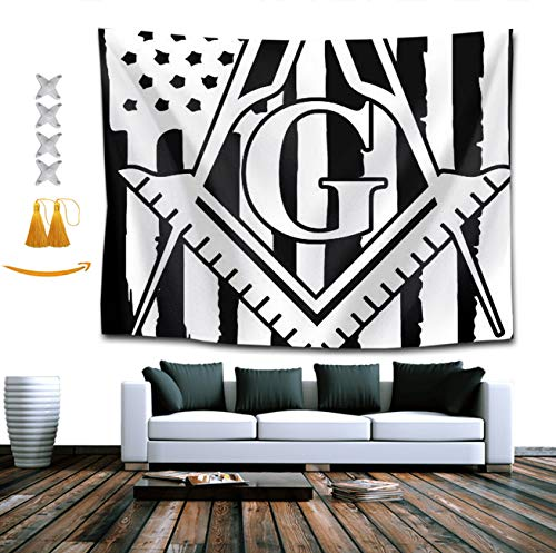 Mountain Gifts Lion Gorgeous (TERPASTRY Tapestry Wall Hanging Freemason Logo American Flag Tapestry Home Decor Wall Tapestry for Kids Girls Boys Room Bedroom Living Room Dorm 50x60 Inch)