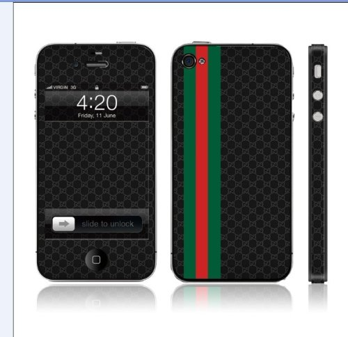 gucci 4s. iphone 4 / 4s designer black gucci full body vinyl skin sticker wrap decal protector: amazon.co.uk: electronics 4s