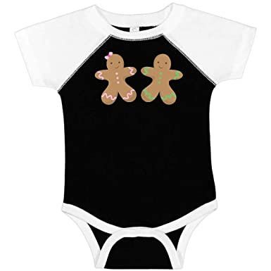 c4936c28304d inktastic - Twin Gingerbread Boy and Infant Creeper Newborn Black and White  dd71