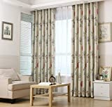 Cartoon Botanical Garden Style Blackout Curtain Grommet Top Thermal Insulated Room Darkening Engery Saving Drape Noise Reducing No Formaldehyde For Living Room and Bedroom52'' W x 63'' L, 2 Panel