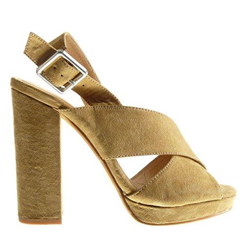 Angkorly - Zapatillas de Moda Sandalias Mules zapatillas de plataforma abierto mujer tanga Hebilla Talón Tacón ancho alto 12 CM - Camel