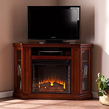 Convertible Electric Fireplace With Cabinet , TV Media Stand Console    Mahogany