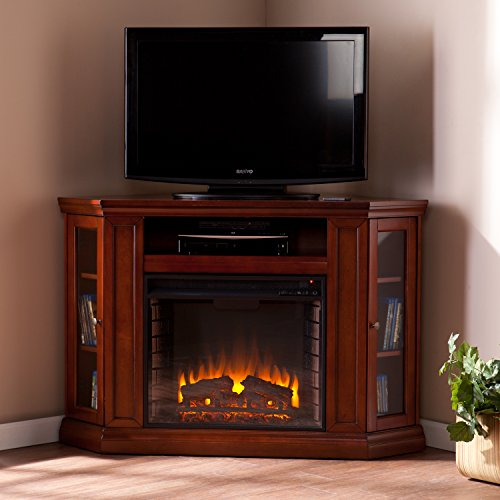 Convertible Electric Fireplace with Cabinet , TV Media Stand Console - Mahogany