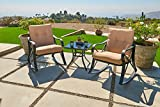 Suncrown Outdoor Rocking Wicker Bistro Set with Glass Top Table (Small Image)