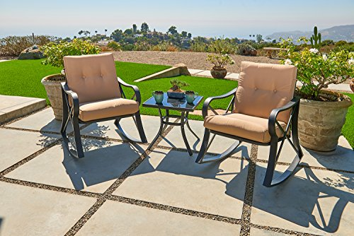Suncrown Outdoor Rocking Wicker Bistro Set with Glass Top Table (Large Image)
