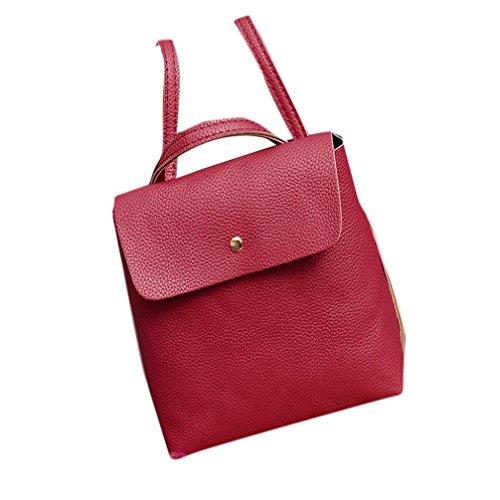 Clearance Rakkiss Womens Bag Ladies Leather Satchel Shoulder Backpack School Rucksack Bag Travel Bags (Red) (Designer Miu Miu Bags)