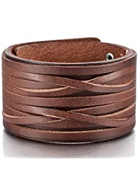 Brown Silver Alloy Genuine Leather Bracelet Bangle Cuff Adjustable