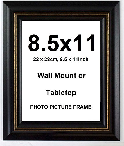 Deluxe Wood Antique Rustic Photo Picture Frame – Black – 8.5x11 Classic Scroll Picture Frame
