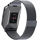 For Fitbit Ionic Bands,Magnet Lock Milanese Loop Stainless Steel Metal Replacement Accessories Bracelet Strap for Fitbit Ionic Women Men Smoke Gray Large