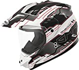 Gmax GM11D Dual Sport Adventure Full Face Helmet (Flat White/Black/Red, Small)