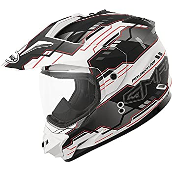 Gmax GM11D Dual Sport Adventure Full Face Helmet (Flat White/Black/Red,