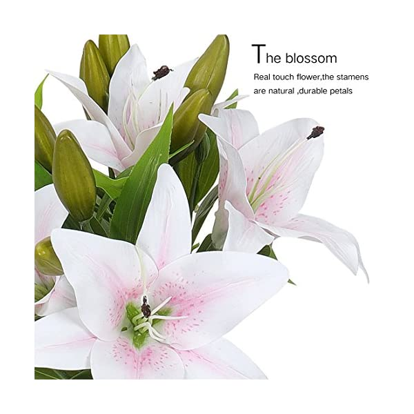 RERXN-Artificial-Tiger-Lily-Latex-Real-Touch-Flower-Home-Wedding-Party-DecorPack-of-5-White-with-red-Heart