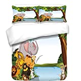 iPrint 3Pcs Duvet Cover Set,Kids,Various Cartoon Style Animals Together by River Bank Tree Bird Cute Funny Wildlife Decorative,Multicolor,Best Bedding Gifts for Family/Friends