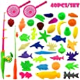 CECII 40pcs Waterproof Magnetic Floating Fish Toys Outdoor Fun Fishing Game Baby Learning & Education, Bath Toys Fishing Set, Magnetic Double Fishing Rod + 36 Fish Model(color may vary)