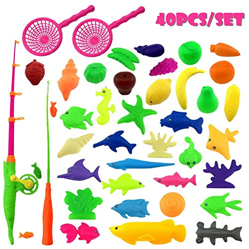[CECII 40pcs Waterproof Magnetic Floating Fish Toys Outdoor Fun Fishing Game Baby Learning & Education, Bath Toys Fishing Set, Magnetic Double Fishing Rod + 36 Fish Model(color may vary)] (Dog Magnetic Toy)