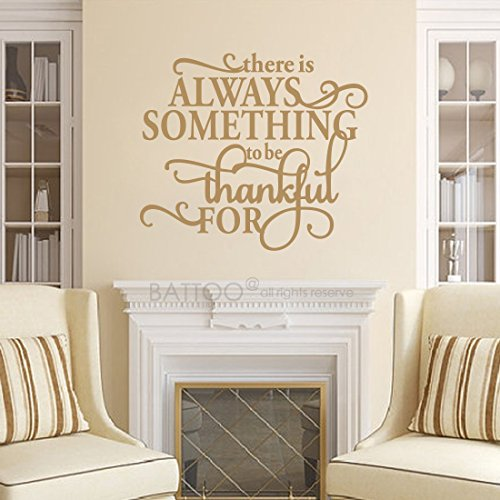 BATTOO Thanksgiving Wall Decal Quote, Thanksgiving Decor, Thanksgiving Wall Decor, 42″ W 36.5″ H Thankful Wall Decals Vinyl Lettering, Thanksgiving Gift, Gold For Sale