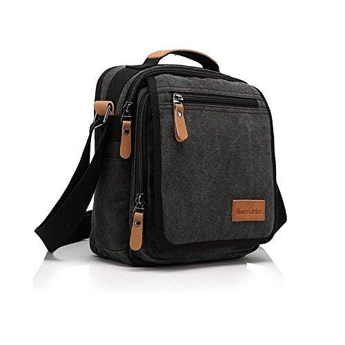 Moore Carden Canvas Messenger Shoulder Bag For Men Small Travel Crossbody Bag Ipad Bag Business Tote Bag Black