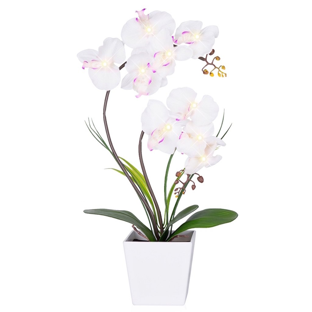 Homeseasons Led Lighted Artificial Orchid Arrangement Battery Operated Orchid Pot With 9 Lights by Homeseasons