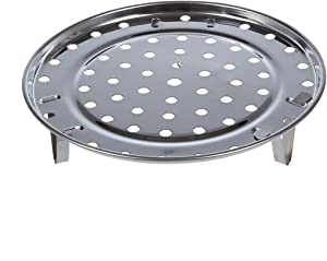 Steamer Pot - Silver Tone Stainless Steaming Rack Tray W Stand - Steaming Stand Cover Pressure Steamer Inch Handle Steam Clothes Oval Insert Quart Handles Clip Instantpot Long Cooker Stainless Ra