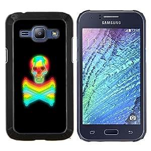 YiPhone /// Prima de resorte delgada de la cubierta del caso de Shell Armor - Negro colorido tatuaje vibrante Cráneo de neón - Samsung Galaxy J1 J100