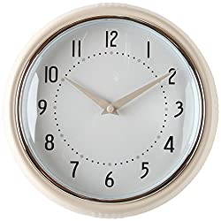 Lily's Home Retro Kitchen Wall Clock, Large Dial Quartz Timepiece, Cream 9.5""