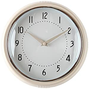 Lilyu0027s Home Retro Kitchen Wall Clock, Large Dial Quartz Timepiece, Cream  9.5u201d